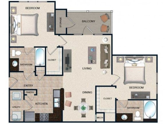 Floor Plan  Beech - 2 BR / 2 BA
