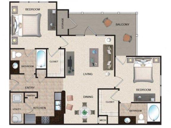 Floor Plan  Birch - 2 BR / 2 BA