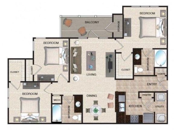 Floor Plan  Cypress - 3 BR / 2 BA