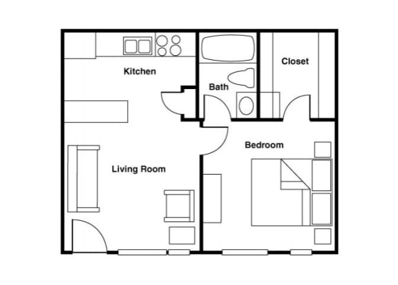 Floor Plan  Furnished 1 bedroom 1 bathroom floor plan at Shorebird Apartments in Mesa, AZ