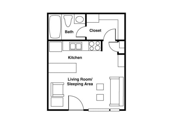 Floor Plan  Furnished Studio floor plan at Shorebird Apartments in Mesa, AZ