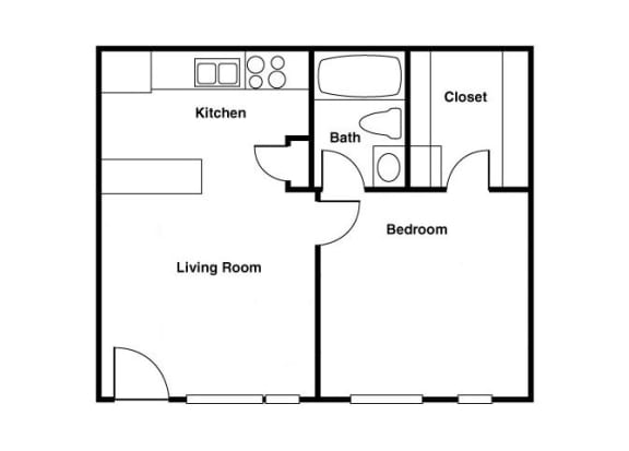 Floor Plan  Unfurnished 1 bedroom 1 bathroom floor plan at Shorebird Apartments in Mesa, AZ