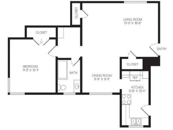 Floor Plan  1 bedroom floor plan | Chase Knolls Garden Apartments Sherman Oaks CA