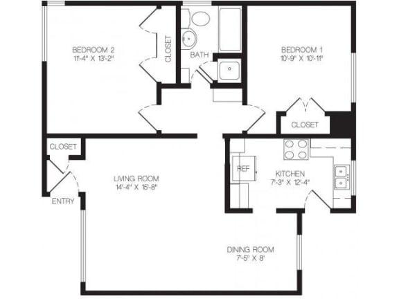 Floor Plan  2 bedroom floor plan | Chase Knolls Garden Apartments Sherman Oaks CA