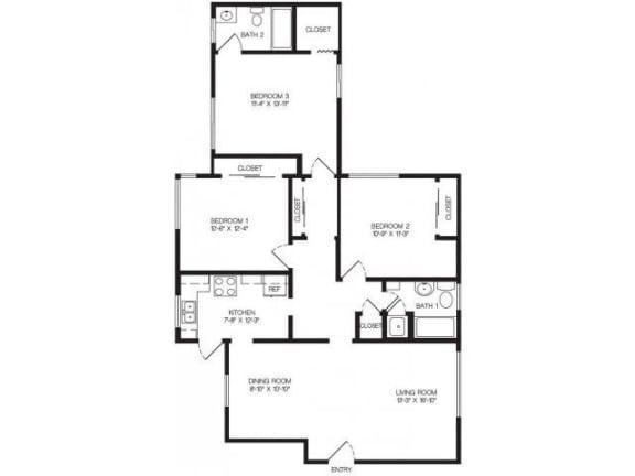 Floor Plan  3 bedroom floor plan | Chase Knolls Garden Apartments Sherman Oaks CA