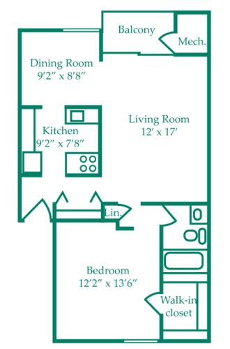 Floor Plan  One-Bedroom- Pine, opens a dialog.