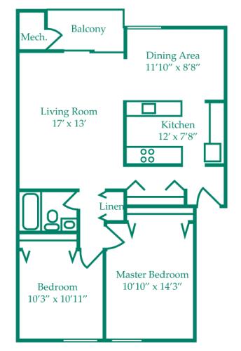 Floor Plan  Two-Bedroom- Birch, opens a dialog.
