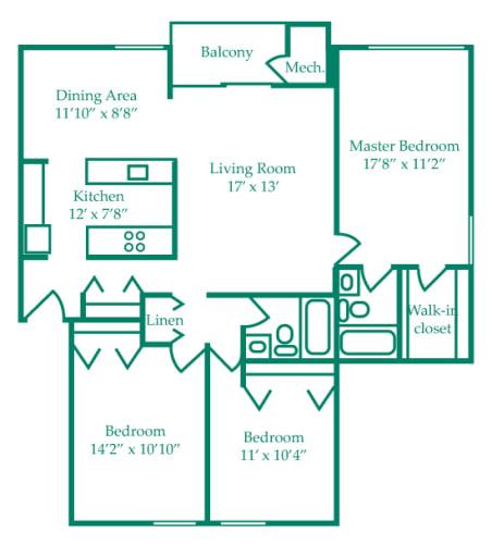 Floor Plan  Three-Bedroom- Elm, opens a dialog.