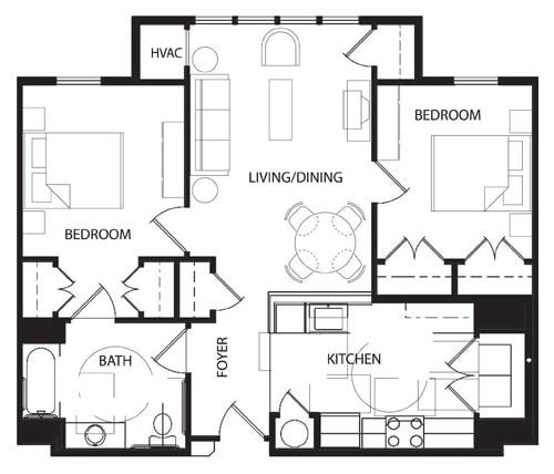 Floor Plan  Two Bedroom- 2C