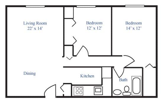 Floor Plan  Two-Bedroom, opens a dialog.