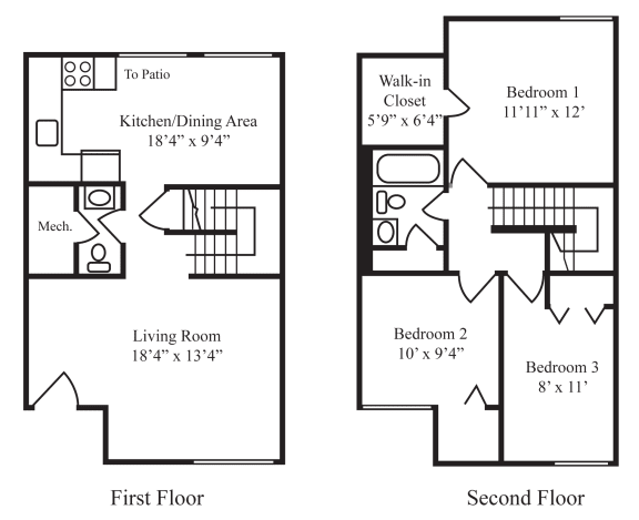 Floor Plan  Three-Bedroom