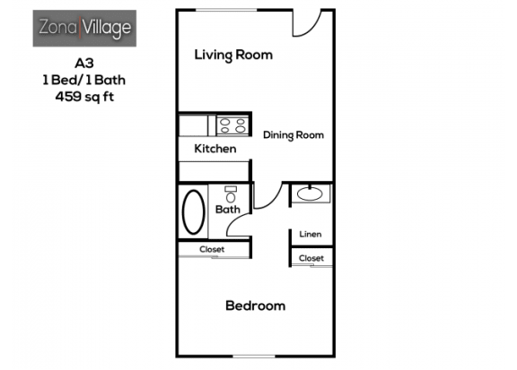 Floor Plan  1 bedroom 1 bathroom at Zona Village Apartments in Tucson, AZ