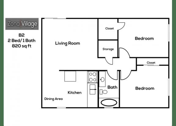 Floor Plan  2 bedroom 1 bathroom at Zona Village Apartments in Tucson, AZ