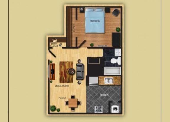 Floor Plan  One Bedroom One Bathroom floor plan at San Simeon Apartments in Tucson AZ, opens a dialog.