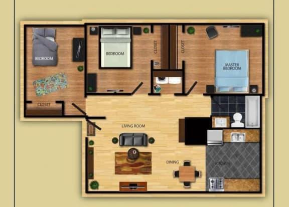 Floor Plan  Three Bedroom One Bathroom floor plan at San Simeon Apartments in Tucson AZ, opens a dialog.