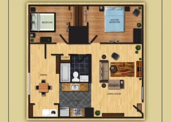 Floor Plan  Two Bedroom One Bathroom floor plan at San Simeon Apartments in Tucson AZ, opens a dialog.