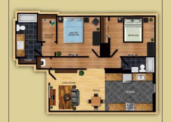 Floor Plan  Two Bedroom Two Bathroom floor plan at San Simeon Apartments in Tucson AZ, opens a dialog.