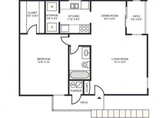 Floor Plan  1x1 floor plan at Mission Palms Apartments in Tucson, AZ