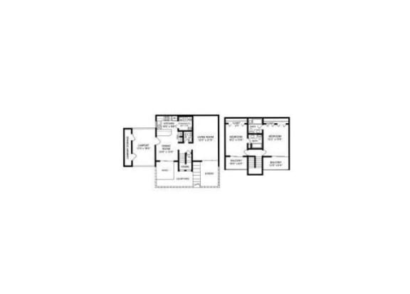 Floor Plan  2 bedroom 2 bathroom floor plan at Mission Palm Apartments in Tucson, AZ
