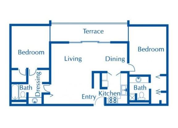 Floor Plan  2 bedroom 2 bathroom floor plan at The Van Buren Apartments in Tucson, AZ