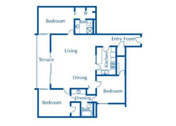 Floor Plan  3 bedroom 2 bathroom floor plan at The Van Buren Apartments in Tucson, AZ