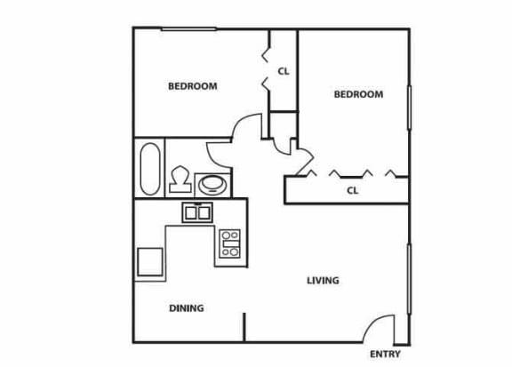 Floor Plan  2 bedroom 1 bathroom floor plan at Comanche Wells in Albuquerque, NM at Comanche Wells in Albuquerque, NM