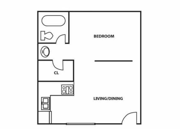 Floor Plan  Studio floor plan at Comanche Wells in Albuquerque, NM, opens a dialog.