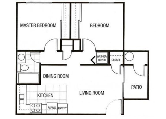 Floor Plan  2 bedrooms 1 bathroom at Sunset Landing Apartments in Glendale, AZ