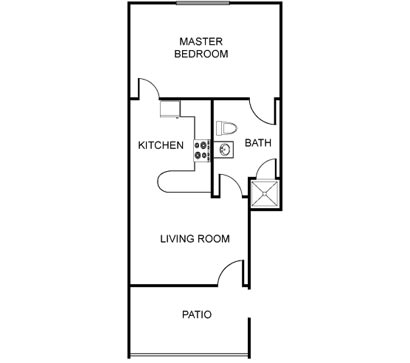 Floor Plan  Unfurnished Large One Bedroom (Starting at $1200), opens a dialog.