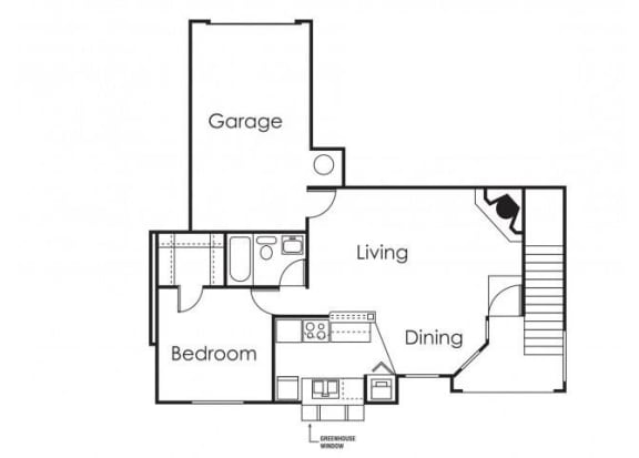Floor Plan  1 bedroom 1 bathroom at Copper Point Apartments in Mesa, AZ, opens a dialog.