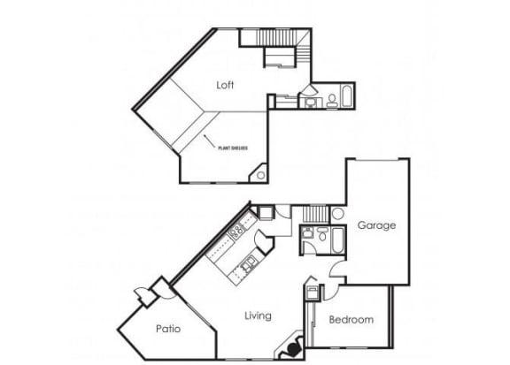 Floor Plan  1 bedroom 2 bathroom loft at Copper Point Apartments in Mesa, AZ, opens a dialog.
