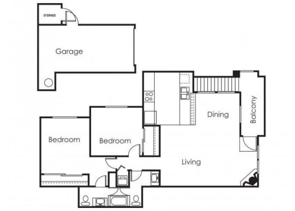 Floor Plan  2 bedroom 2 bathroom at Copper Point Apartments in Mesa, AZ, opens a dialog.