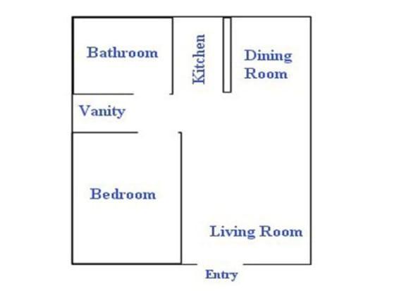 Floor Plan  1 bedroom 1 bathroom floor plan at The Continental Apartments in Phoenix, AZ