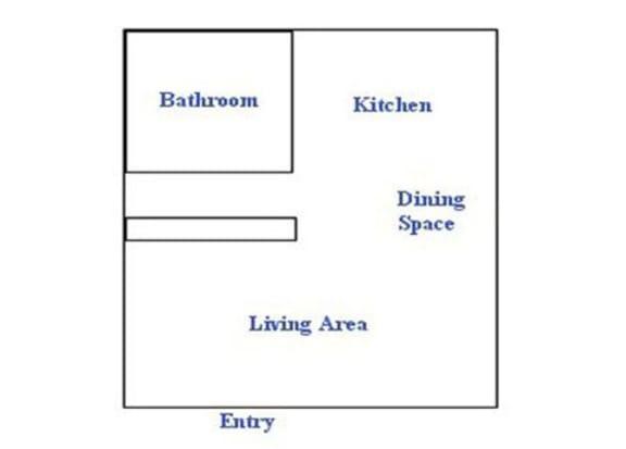 Floor Plan  Studio floor plan at The Continental Apartments in Phoenix, AZ