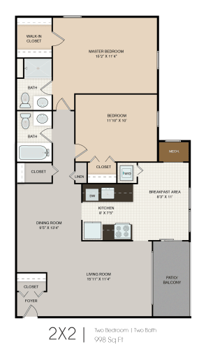 Floor Plan  2 bedroom 2 bathroom floor plan