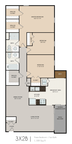 Floor Plan  3 bedroom 2 bathroom floor plan