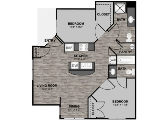 Floor Plan  2 bedroom 2 bathroom 876 sq ft floor plan at 255 North Apartments in Tucson, AZ, opens a dialog.