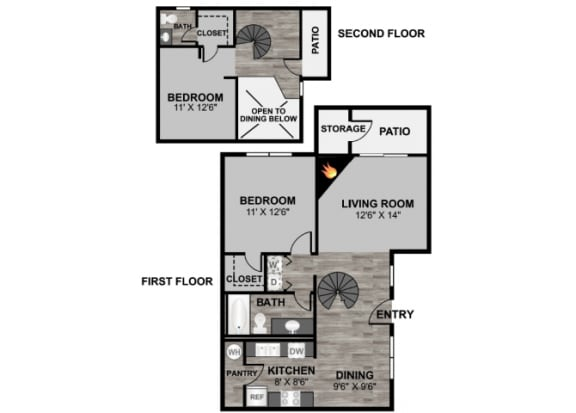 Floor Plan  2 bedroom 2 bathroom loft 1017 sq ft floor plan at 255 North Apartments in Tucson, AZ, opens a dialog.