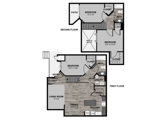 Floor Plan  3 bedroom 2 bathroom loft 1338 floor plan at 255 North Apartments in Tucson, AZ, opens a dialog.