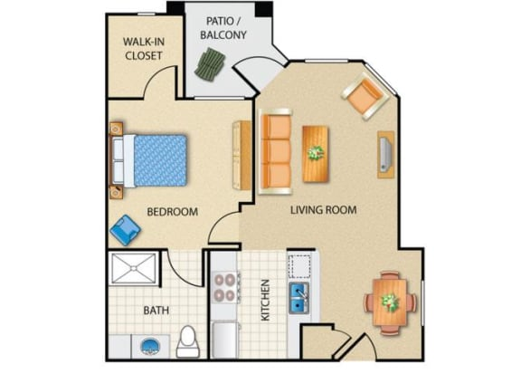 Floor Plan  1 bedroom 1 bathroom at Prescott Lakes Apartments in Prescott, AZ