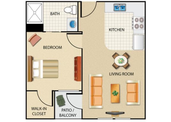 Floor Plan  1 bedroom 1 bathroom floor plan at Prescott Lakes Apartments in Prescott, AZ