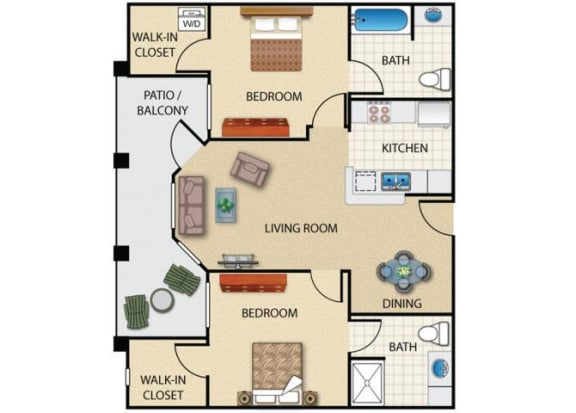 Floor Plan  2 bedroom 1 bathroom at Prescott Lakes Apartments in Prescott, AZ