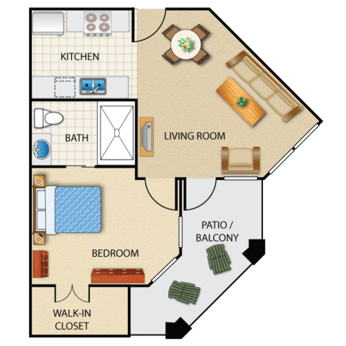 Floor Plan  Corporate guest suite at Prescott Lakes Apartments in Prescott, AZ