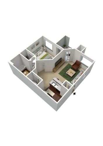 Floor Plan  1 bedroom 1 bathroom floor plan at Summit Vista Apartments in Tucson, AZ