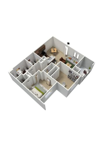 Floor Plan  2 bedroom 1 a half bathroom floor plan at Summit Vista Apartments in Tucson, AZ