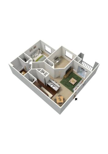 Floor Plan  2 bedroom 1 bathroom floor plan at Summit Vista Apartments in Tucson, AZ