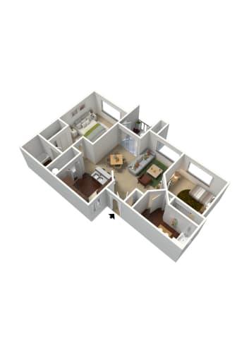 Floor Plan  2 bedroom 2 bathroom floor plan at Summit Vista Apartments in Tucson, AZ