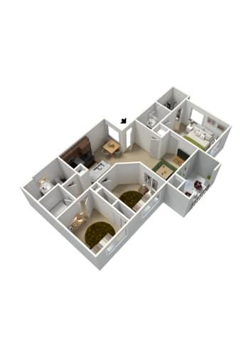 Floor Plan  3 bedroom 2 bathroom floor plan at Summit Vista Apartments in Tucson, AZ