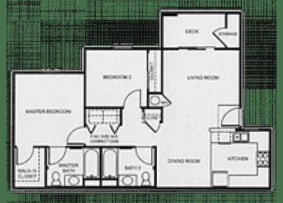 Floor Plan  2x2 Affordable floor plan at Aspen Ridge Apartments in Albuquerque, NM