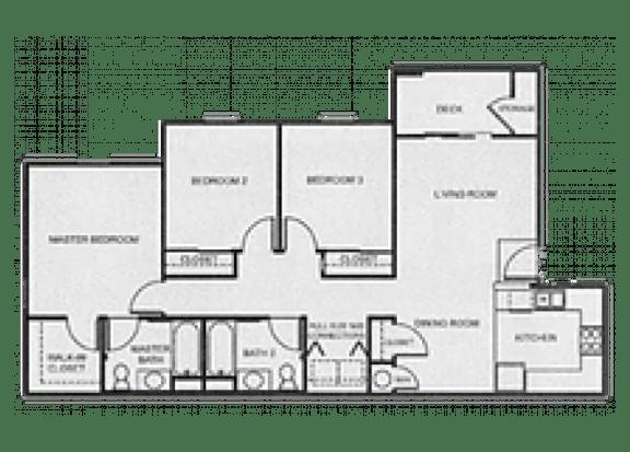 Floor Plan  3x2 Affordable floor plan at Aspen Ridge Apartments in Albuquerque, NM